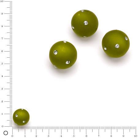 Perle Polaris satinée strass Swarovski Ø 14 mm - Olive