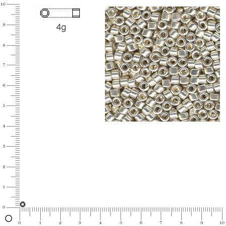 Miyuki Delicas 10/0 métallique - Argent DBM0035 - 4 g