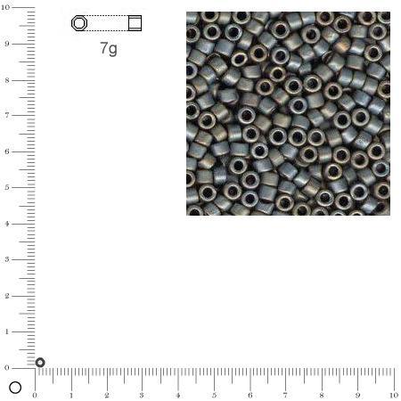 Miyuki Delicas 10/0 métallique dépoli - Anthracite DBM0307 MAT - 7 g