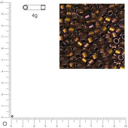 Miyuki Delicas 11/0 métallique dépoli - Brun moka DB0312 MAT - 4 g
