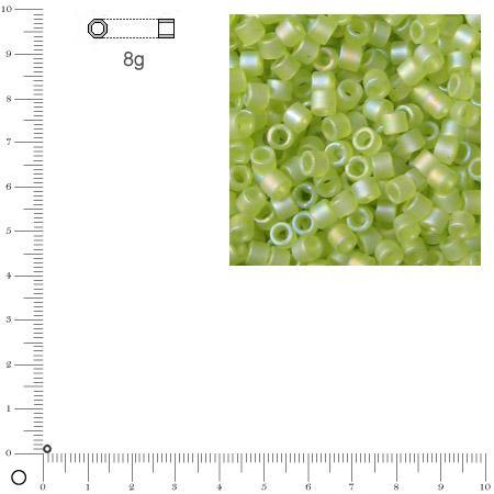 Miyuki Delicas 11/0 transparent rainbow dépoli - Vert pomme DB0860 - 8 g