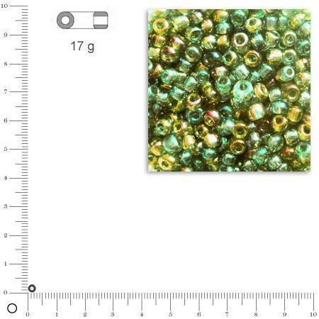 'Rocailles transparentes lustrées - Vert clair - Ø 2,6 mm x 17 g