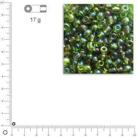 'Rocailles transparentes lustrées - Vert - Ø 2,6 mm x 17 g