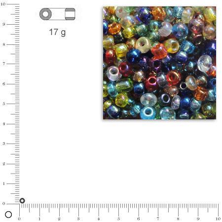 'Rocailles transparentes lustrées - Assortiment - Ø 2,6 mm x 17 g