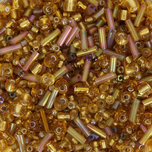 Bocal de 400gr de rocaille - Jaune or - Taille aléatoire Ø de 2 à 5 mm