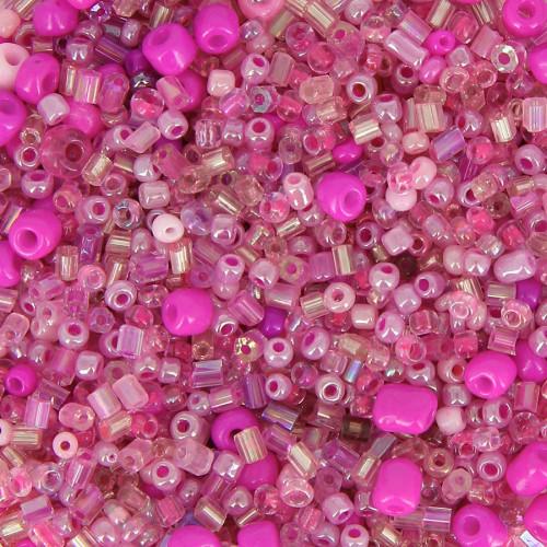 Bocal de 400gr de rocaille - Rose - Taille aléatoire Ø de 2 à 5 mm