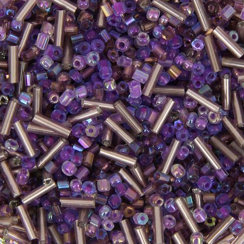 Bocal de 400gr de rocaille - Violet - Taille aléatoire Ø de 2 à 5 mm