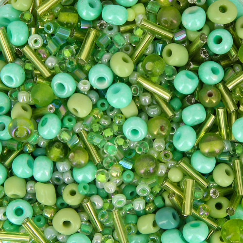 Bocal de 400gr de rocaille - Vert - Taille aléatoire Ø de 2 à 5 mm