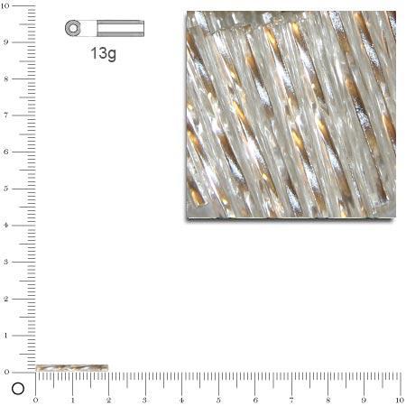 Rocailles tubes twist intérieur argenté - Argent - 20 mm x 13 g