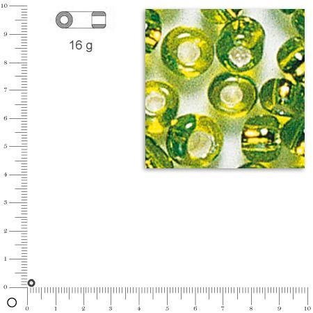 Rocailles intérieur argenté - Vert clair - Ø 2,6 mm x 16 g