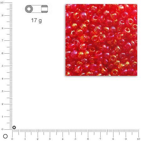 'Rocailles transparentes lustrées - Rouge - Ø 2,6 mm x 17 g
