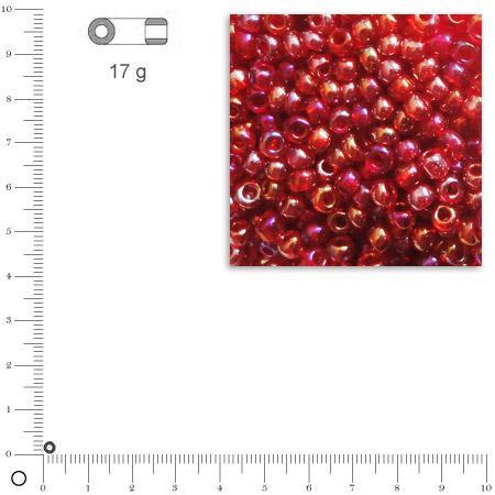Rocailles transparentes lustrées - Rouge vin - Ø 2,6 mm x 17 g