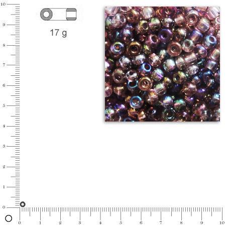 Rocailles transparentes lustrées - Lilas - Ø 2,6 mm x 17 g
