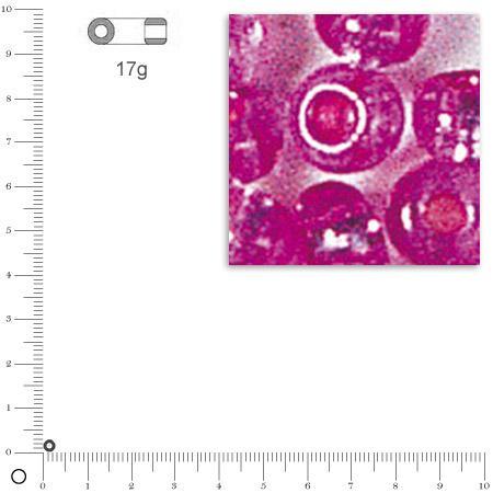 Mini-rocailles intérieur argenté - Rose foncé - Ø 2 mm x 17 g