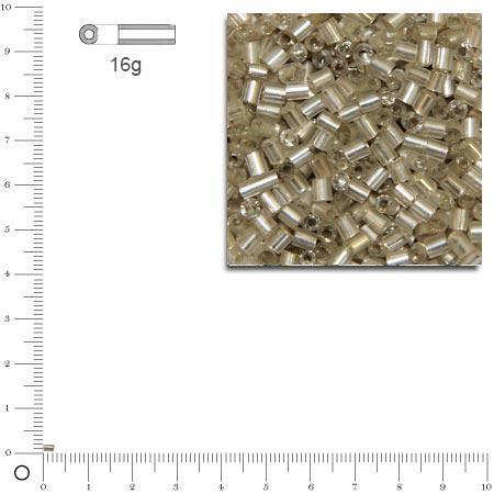 Rocailles mini-tubes intérieur argenté - Argent - 2 mm x 16 g