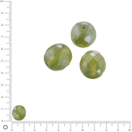 Perles verre antiques à facettes Ø 12 mm - Vert olive x 7 pces