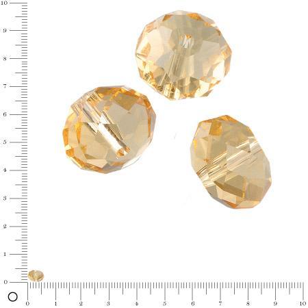 Perles en verre donut à facettes Ø 6 mm - Topaze x 15 pces