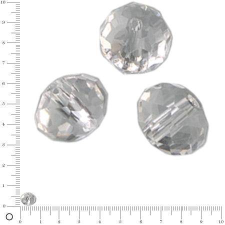 Perles en verre donut à facettes Ø 8 mm - Transparent x 10 pces