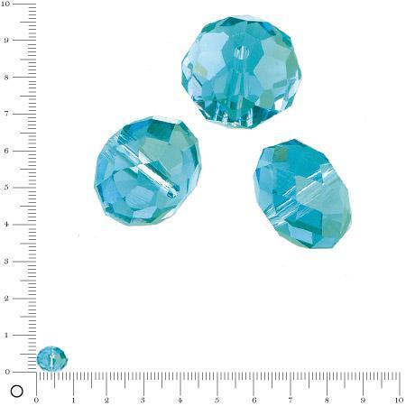 Perles en verre donut à facettes Ø 8 mm - Bleu azur x 10 pces