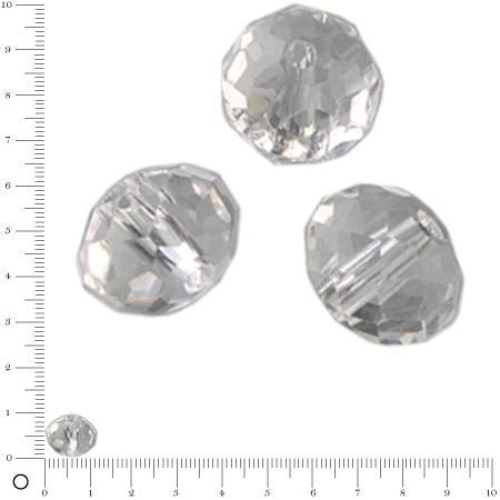 Perles en verre donut à facettes Ø 12 mm - Transparent x 8 pces