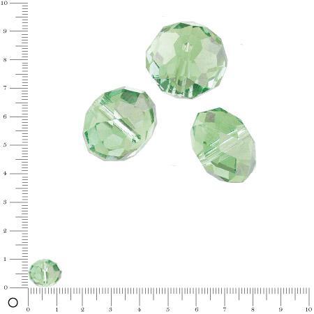 Perles en verre donut à facettes Ø 12 mm - Vert clair x 8 pces