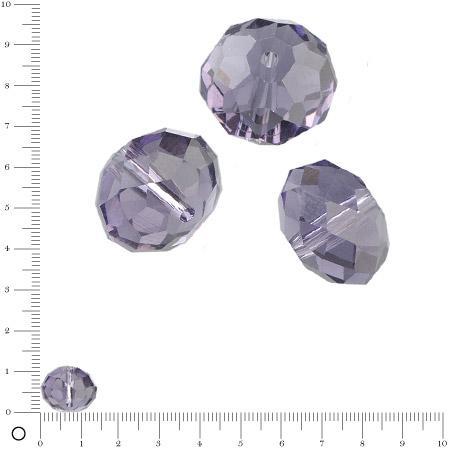 Perles en verre donut à facettes Ø 14 mm - Lilas x 6 pces