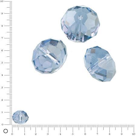 Perles en verre donut à facettes Ø 14 mm - Bleu clair x 6 pces
