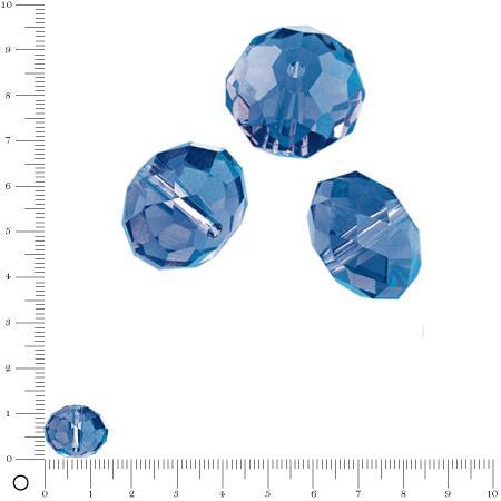 Perles en verre donut à facettes Ø 14 mm - Bleu royal x 6 pces