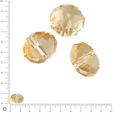 Perles en verre donut à facettes Ø 14 mm - Topaze x 6 pces