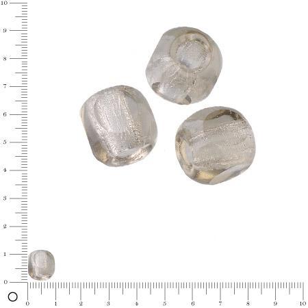 Perles en verre à facettes Ø 10 mm - Gris x 6 pces