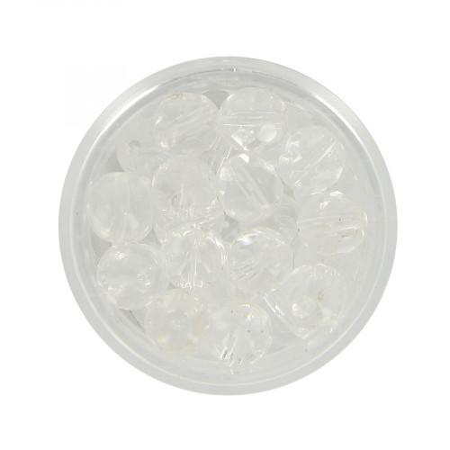 Boîte de perles en verre à facettes - Blanc transparent - 9 x 8 mm