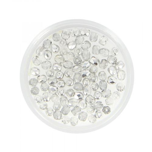 Boîte de perles en verre à facettes - Gris - Ø 3 mm