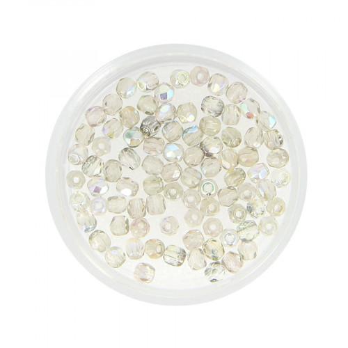Boîte de perles en verre à facettes - Gris transparent - Ø 3 mm