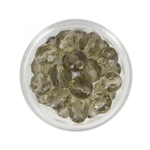 Boîte de perles en verre à facettes - Noir transparent - 9 x 8 mm