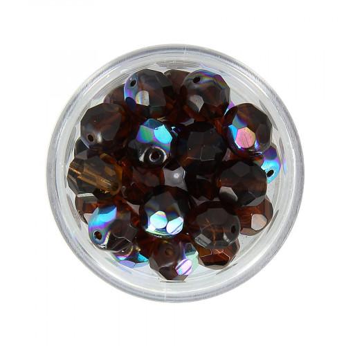 Boîte de perles en verre à facettes - Marron - Ø 8 mm