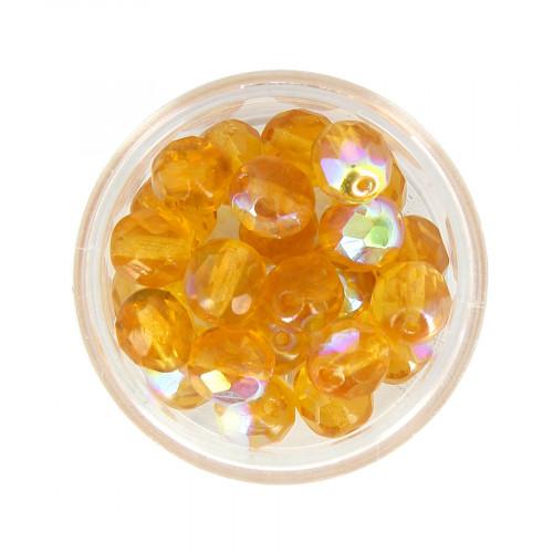Boîte de perles en verre à facettes - Jaune miel - 8 x 7 mm