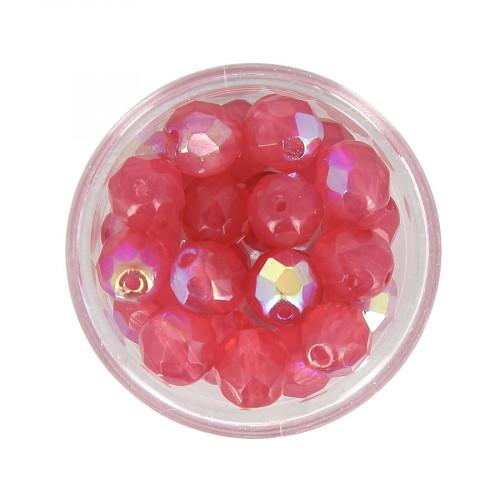 Boîte de perles en verre à facettes - Rose - Ø 8 mm