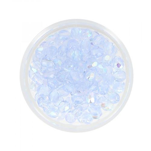 Boîte de perles en verre à facettes - Bleu gris de lin transparent - Ø 4 mm