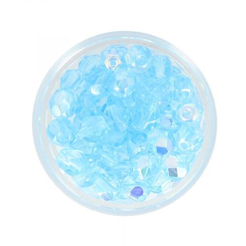 Boîte de perles en verre à facettes - Bleu cyan - Ø 6 mm