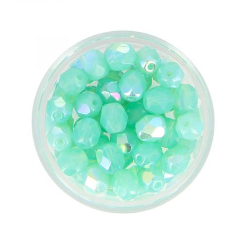 Boîte de perles en verre à facettes - Vert jade - Ø 6 mm