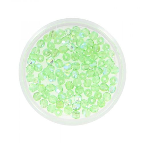 Boîte de perles en verre à facettes - Vert tilleul - Ø 3 mm