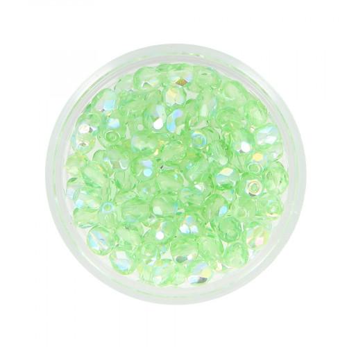 Boîte de perles en verre à facettes - Vert tilleul - Ø 4 mm