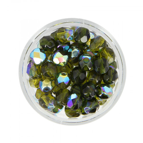 Boîte de perles en verre à facettes - Vert kaki - Ø 6 mm