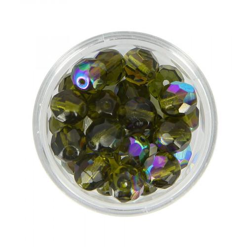 Boîte de perles en verre à facettes - Vert kaki - Ø 8 mm