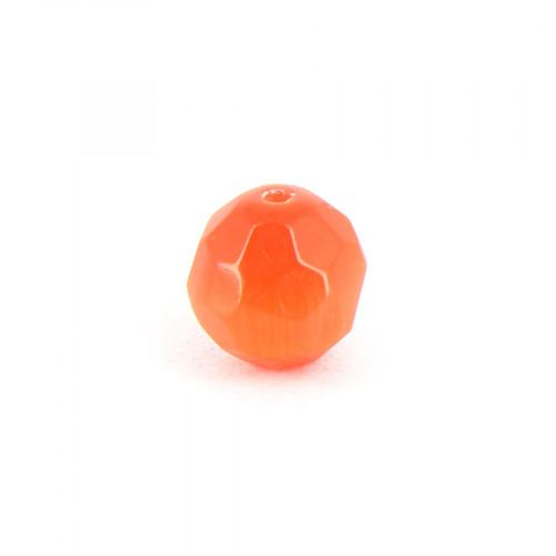 Perle ronde à facettes cat's eye en verre - Orange - 10 mm