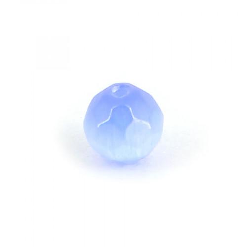 Perle ronde à facettes cat's eye en verre - Bleu lavande - 6 mm