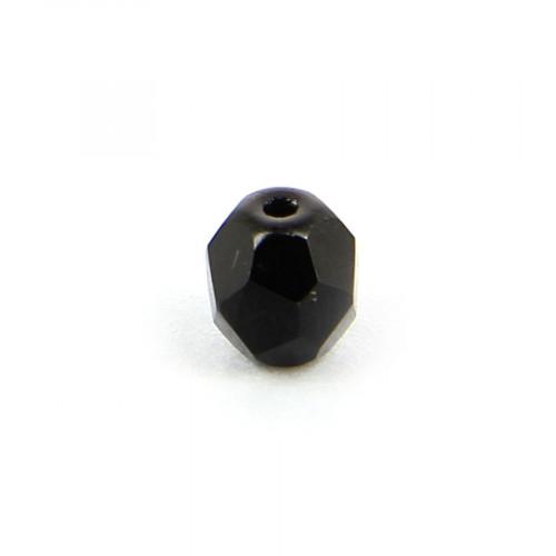 Perle ovale à facettes verre de bohème - Noir opaque - 5 x 6 mm