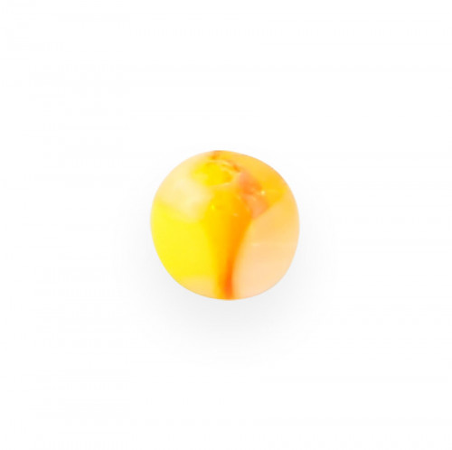 Perle cube en verre - Jaune et orange et transparent - 4 mm