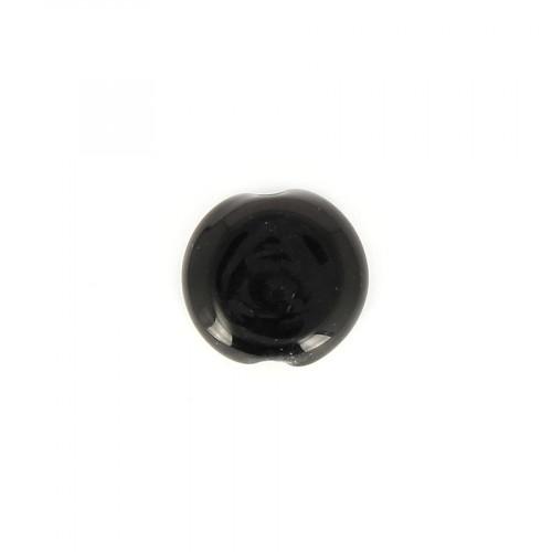 Perle palet en verre opaque - Noir - 15 x 15 mm