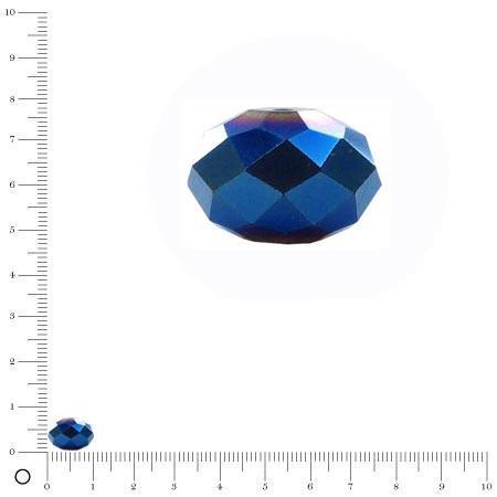 Perle en verre à facettes donut Ø 10 mm - Bleu